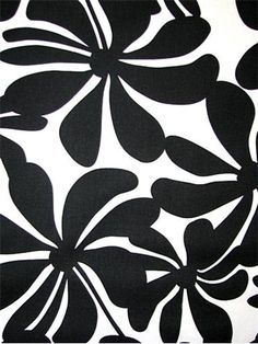 """Twirly Black - Contemporary floral home décor fabric - Twirly Black - 100% 7 ounce Cotton Duck - 27"""" Horizontal by 13 1/2"""" Vertical - 54 Wide"""