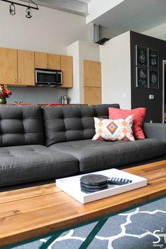 Modern Mid Century Eclectic Loft Living Room Dining Grey Sofa