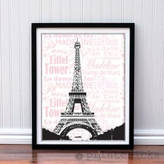 Paris Print  Personalized Eiffel Tower Paris France by PrintChicks, $22.00  So great for teen girl's room!