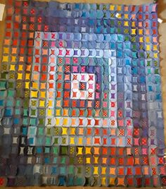 Upcycled denim rainbow quilt in the making Rainbow Quilt, Upcycle, Quilts, Denim, Painting, Art, Art Background, Upcycling, Repurpose