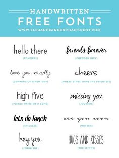 Typography lovers rejoice! // Free Handwritten Fonts for graphic design, web design, blogging, crafting, scrapbooking and more! // From Elegance & Enchantment