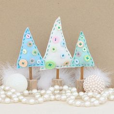 Pastel Blue, Natural and Peppermint Felt Trees