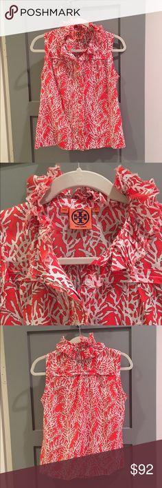 Tory Burch Coral Ruffle Blouse Beautiful blouse by Tory Burch in great condition Tory Burch Tops Button Down Shirts