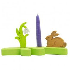 Spring Candle Holder - Bunny and Snowdrop. Made in Germany. $39.95