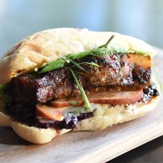 Black Tree - Pork Belly Sandwich - I don't know about the cheddar cheese part, but the rest of this recipe, especially the pickled fruit - sounds righteous!