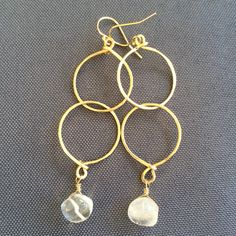 Image of Alii hoops, quartz crystal & 14k gold fill