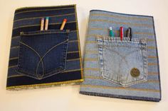 Sewing For Kids Easy Jeans Composition Book Cover - small,easy sewing project - In just a couple of hours you can turn an old pair of jeans into a composition book cover that your back to school teen is sure to love. Diy Notebook, Notebook Covers, Sewing Projects For Kids, Sewing For Kids, Bullet Journal Ideas, School Organization For Teens, Book Organization, Altered Composition Books, Fabric Book Covers