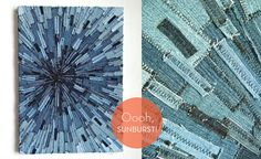 While there isn't a tutorial on Bel Rossa, she suggests cutting your denim into strips and then sewing them one-by-one onto a fabric backing, working in layers.  I imagine after that all you would need to do is stretch your creation onto a canvas and--voila!  Whether you take a stacked or sunburst approach, the effect is pretty neat!