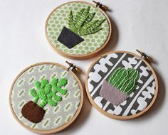 Cactus wall art embroidery hoop home decor cacti succulents plants green felt appliqué wall decor leaf potted plants by oktak on Etsy https://www.etsy.com/listing/230998297/cactus-wall-art-embroidery-hoop-home
