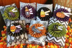 Halloween Treat Boxes by Richele Christensen using Tim Holtz, Ranger, Sizzix and Stamper's Anonymous products; Halloween Treat Holders, Halloween Tags, Holidays Halloween, Halloween Parties, Halloween Ideas, Halloween Paper Crafts, Halloween Pillows, Halloween Decorations, Candy Crafts