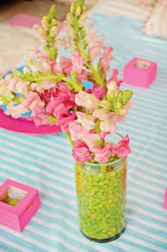 peas in vase for pop of color in arrangements