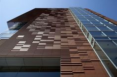 TERRART® BAGUETTE are terracotta pipes from NBK by Hunter Douglas with square, circular or oblong cross-sections, they can also be made as curved elements or. Hunter Douglas, Roof Design, Facade Design, Terra Cotta, Rainscreen Cladding, Ambulatory Care, Facade Architecture, Skyscraper, Brick
