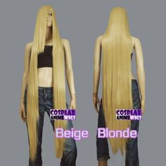 50-inch-Heat-Resistant-ALL-COLOR-Extra-Long-Cosplay-Wig Anime Wigs, Beige Blonde, Long Bangs, Lace Inset, Synthetic Wigs, Cosplay Wigs, Lace Tops, All The Colors, Hair