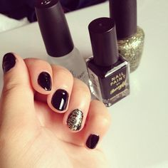 "#black and #gold  calling this look ""brave heart""  products: #barrym #nailpaint , #OPI - glow up already & #chinaglaze topcoat"