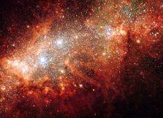 La cercana galaxia enana NGC 1569 es un foco de vigorosa actividad de nacimiento estelar; las enormes burbujas que exhala criban el cuerpo principal de la galaxia produciendo, también, brillantes cúmulos estelares azules. Esta galaxia sufrió un súbito acceso de nacimiento estelar hace 25 millones de años, que amainó cuando los primeros ancestros humanos poblaban la