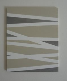 "16""x20"" Beautiful Tape Painted Canvas, Two-Tone Acrylic Abstract Line Art Painting"
