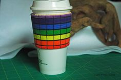 Basic Rainbow Grid - Coffee Sleeve #3 by CafeProjections on Etsy