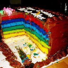 Cómo preparar una torta arcoiris
