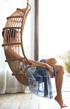 Rattan hanging chair-love it Home Interior, Interior Design, Indoor Swing, Swinging Chair, Rocking Chair, Decoration, My Dream Home, Sweet Home, New Homes