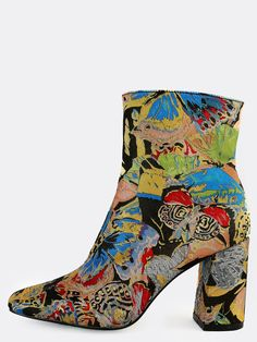 Online shopping for Vintage Inspired Patterned Ankle Booties MULTI from a great selection of women's fashion clothing & more at MakeMeChic.COM.