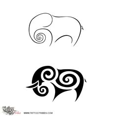 TATTOO TRIBES: Tattoo of Elephant, Devotion, commitment tattoo,elephant spiral fernbud koru tattoo - royaty-free tribal tattoos with meaning Skull Sleeve Tattoos, Sleeve Tattoos For Women, Tribal Tattoos, Elefante Tribal, Elefante Tattoo, Elephant Outline, Elephant Design, Elephant Doodle, Weird Tattoos