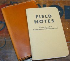 Leather Field Notes Holder (Cognac with Black Stitching)
