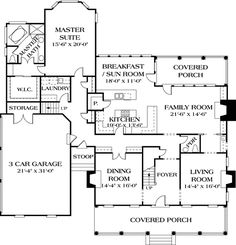 Colonial Style House Plan Number 85532 with 4 Bed, 4 Bath, 3 Car Garage Colonial Cottage Country Farmhouse Traditional Level One of Plan 85532 Colonial Cottage, Colonial Style Homes, Family House Plans, House Floor Plans, Sims House, Country Farmhouse, Traditional House, Home Design, Master Suite