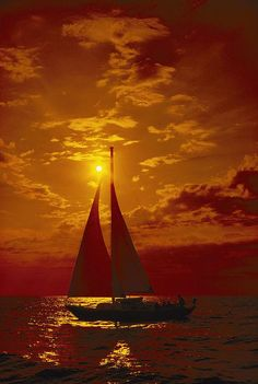 ✮ A passing sailboat is silhouetted against a brilliant orange sunset near Bermuda