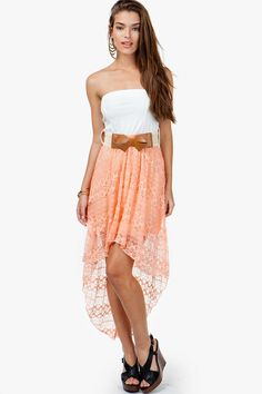 Patterned Lace Hi Lo Dress W/ Bow Belt- A'GACI