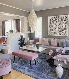 Grey and blush living room wall decor wall Decor, Pink Living Room, Living Room Decor On A Budget, Blush Living Room, Interior Wall Colors, Living Room Interior, Living Room Grey, Interior Design Living Room, Living Decor
