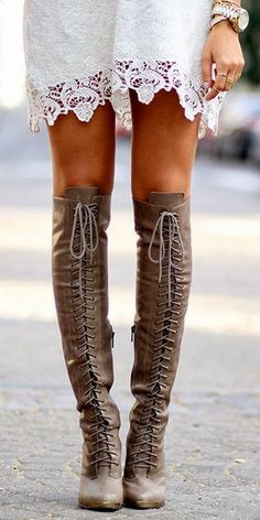 Tall Leather Lace Up Boots <3