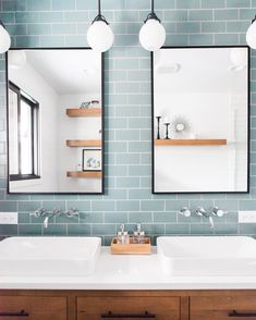 PROJECT REVEAL: Check out how we took the Mid Century Main House Guest Bath from dark and dated to spacious + stylish! Bathroom Renos, Small Bathroom, Laundry In Bathroom, Glass Tile Bathroom, Bad Inspiration, Bathroom Inspiration, Mid Century Modern Bathroom, Fireclay Tile, Upstairs Bathrooms