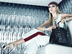 Sasha Pivovarova for Prada's Resort 2013 ad campaign. Photographed by Steven Meisel.