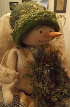 Primitive Folk Art Snowman Snowgirl Doll Antique Quilt Wool Vintage Hat OOAK #NaivePrimitive #handcraftedbyartist