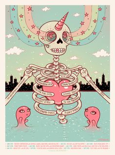 Tara McPherson / Concert Poster: Death Cab for Cutie / sonic youth / fleet foxes / tv on the radio / widespread panic / thievery cooperation / stone temple pilots )     (Williamsburg Waterfront  illustration / skeleton / unicorn / rainbow )
