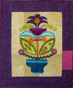 Sue Spargo. Folk Art Quilts. 'Blooming Whimsy' by Sue Spargo