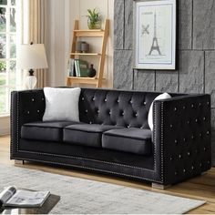 Nuiances Of Stanford Sofa And Loveseat Set 87 - inspiredeccor Living Room Themes, Chic Living Room, Living Room Seating, Living Room Sofa, Living Room Designs, Black And Silver Living Room, Black Fabric Sofa, Sofa And Loveseat Set, Modular Sectional Sofa