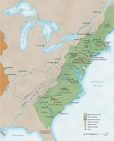 This is the geography of battles of the Revolutionary War. This is a helpful visual aid while studying the war as it puts the land into perspective making the entire war easier to comprehend and remember. Students can study the map as a whole, or search for specific places and events.