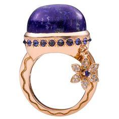 Talas Deux Lapis Lazuli Blue Sapphire Diamond Gold Ring