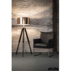 Lampadaire colonne design en verre et nickel chromé ORION 3 lampes