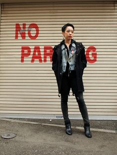 girls with shaved hair, girls in black, girls in serious jackets, girls in ankle boots... #tokyo #streetstyle