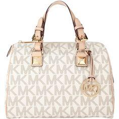 MICHAEL Michael Kors Grayson Satchel Bag ($340) ❤ liked on Polyvore featuring bags, handbags, purses, bolsas, accessories, vanilla, hand bags, white hand bags, satchel purse and top handle satchel handbags