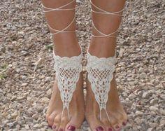 Gehäkelte barfuss Sandalen weiß silber barfuss Sandalen von AkBro