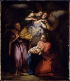 """""""The Nativity"""" by French painter Noel Coypel features Mary, Joseph and angels in adoration of the Christ Child."""