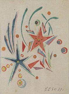 E. Besozzi pitt. s.d. (1950) Fuochi acquerello su cartoncino cm. 7,2x5,4 arc. 632