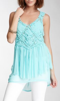Woven tunic..would be cuter in a peachy color.