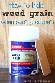 I started with dark oak cabinets, and wanted them smooth white. This post will show you how to hide wood grain on cabinets so you can achieve a smooth painting surface without the grain.