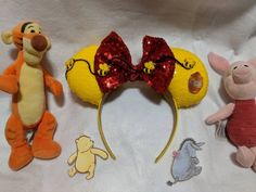Pooh and Friends Mouse Ears // Headband // Ear Hat Mouse Ears Headband, Ear Headbands, Winnie The Pooh Ears, Child Please, Ear Hats, Disney Ears, Sequin Fabric, Disney Merchandise, Colorful Flowers