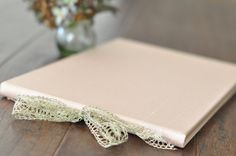 Blush Silk Wedding Guest Book, Photo Guestbook or Album - with gold metallic lace