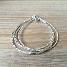 Karen Hill Tribe Silver Multi-Strand Bracelet by OreandAreiaNZ Beaded Necklace, Beaded Bracelets, Stretch Bracelets, Beaded Jewelry, Jewellery, Silver Bracelets For Women, Wedding Bracelet, Strand Bracelet, Jewelry Making Beads